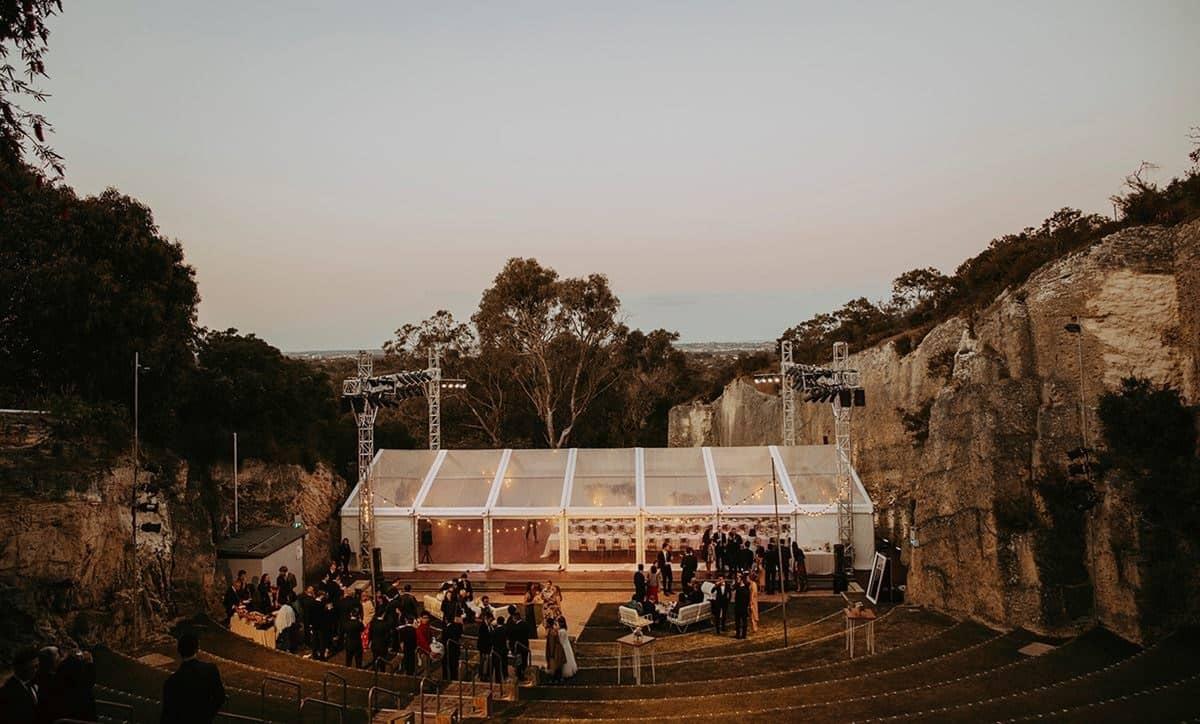 The Quarry Amphitheatre is an ideal wedding venue