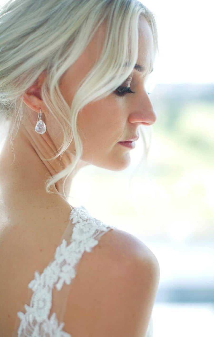 Beautiful bride, side profile.
